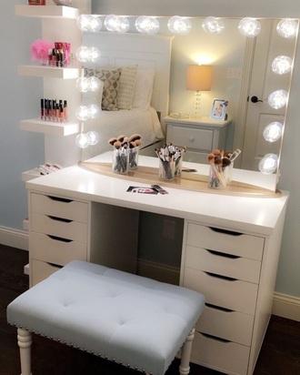 home accessory makeup table white vanity vanity set vanity mirror