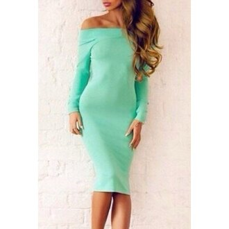 dress fashion long sleeves mint midi dress women's candy color long sleeve slash neck dress off the shoulder cool trendy casual fall outfits rose wholesale-dec