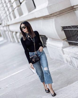 top scarf black shoes tumblr black top fall outfits denim jeans blue jeans ripped jeans shoes bag black bag
