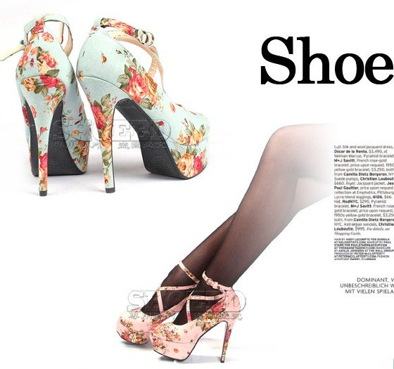 2011 new lady's strappy heels fashion floral print shoes,sexy high ...