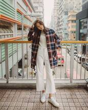 coat,wool coat,checkered,flare jeans,white jeans,cropped jeans,white sneakers,sunglasses