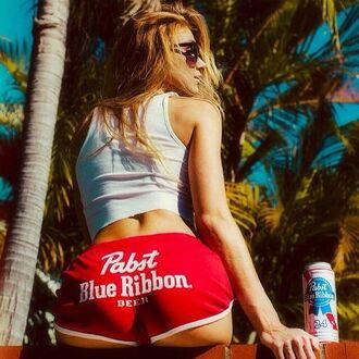 shorts pbr pbr shorts red shorts beer