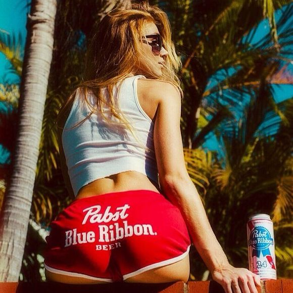 shorts red shorts pbr pbr shorts beer
