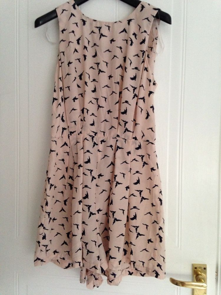 gorgeous flowy peach pink playsuit with black bird print small medium 8 10 12 | eBay