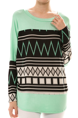 shirt aztec mint mint top mint shirt long sleeves