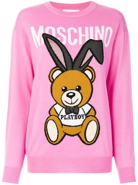 Moschino sweater bunny women wool purple pink