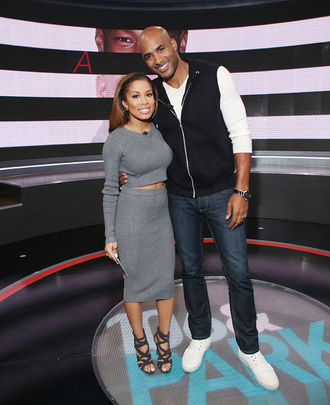 keshia chante 106 & park crop tops tight dress tight skirt tight skirts half long grey dress
