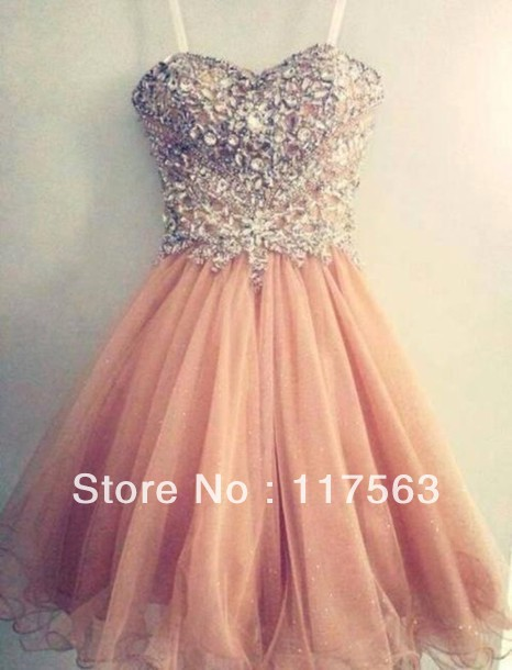 Spaghetti Strap Tulle Beaded Short Coral Prom Dress Free Shipping ...
