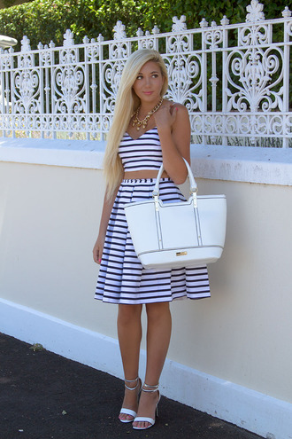 superficial girls blogger bag striped skirt stripes midi skirt crop tops sandals necklace