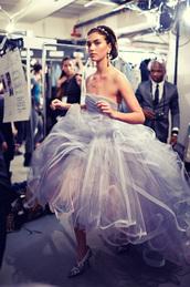 dress,wedding dress,prom dress,blue dress,purple dress,frilly,skirt,ball gown dress,evening dress,violet,off the shoulder,earrings