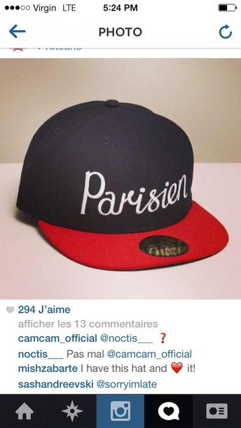 hat paris parisian hipster french class perfect red psg snapback