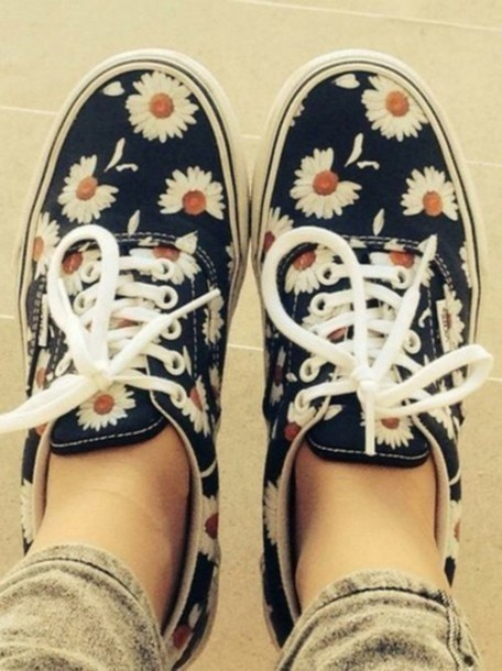 shoes daisy black shoes floral sneakers low top sneakers