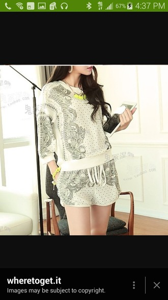 shorts cotton polyester totem geometric print shirt