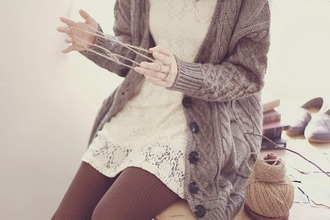 leggings thick leggings brown dress lace dress cream cardigan wool knitted cardigan big buttons