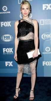 top,lace,skirt,asymmetrical,emma roberts,sandals,shoes