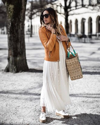 dress tumblr maxi dress white long dress long dress shoes bag white shoes straw bag jacket leather jacket brown jacket sunglasses