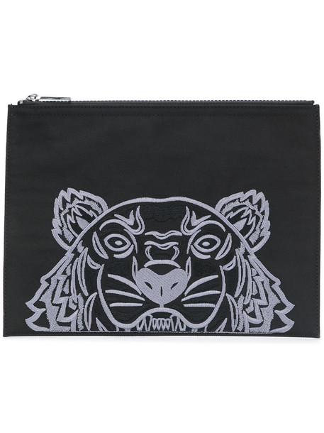 Kenzo embroidered women tiger clutch black bag