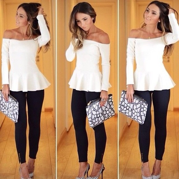 blouse off the shoulder sweater peplum off the shoulders long sleeves top