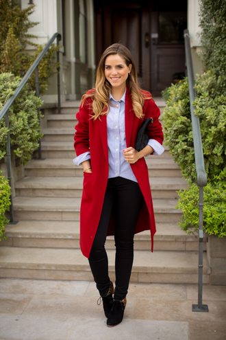 gal meets glam blogger bag red coat shirt black jeans