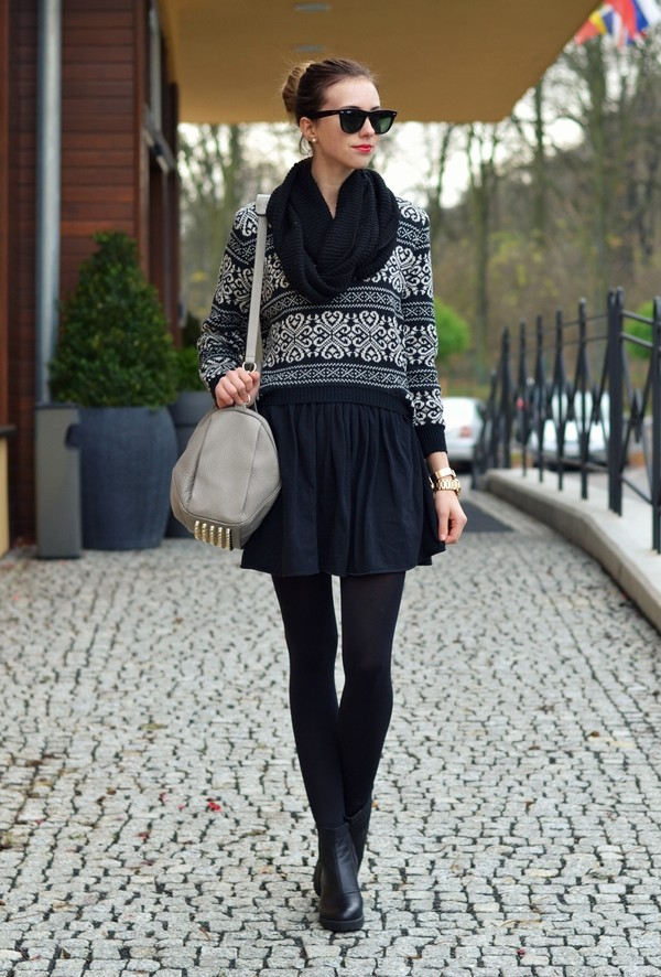 vogue haus sweater skirt shoes bag sunglasses jewels