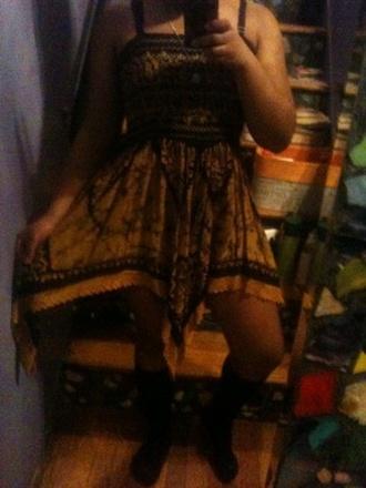 dress gold bohemian hippie gypsy festival