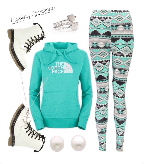 pants blue green leggings grey north face boots pearl earrings heart jewelry shoes mint sweater blue aztec leggings turquoise