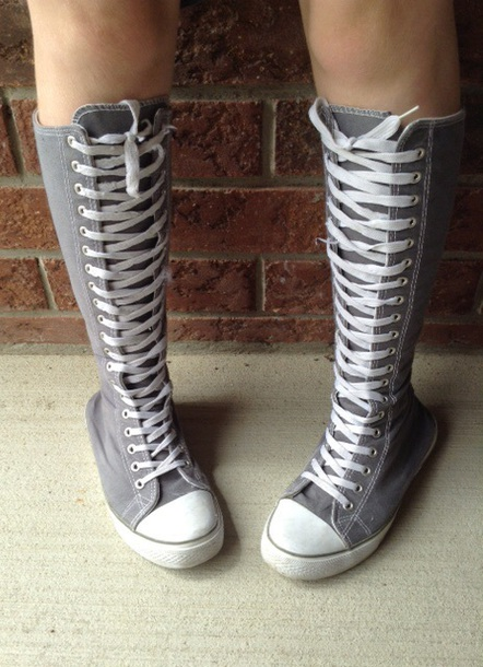 a4b8f5d30387db shoes converse grey knee high shoes