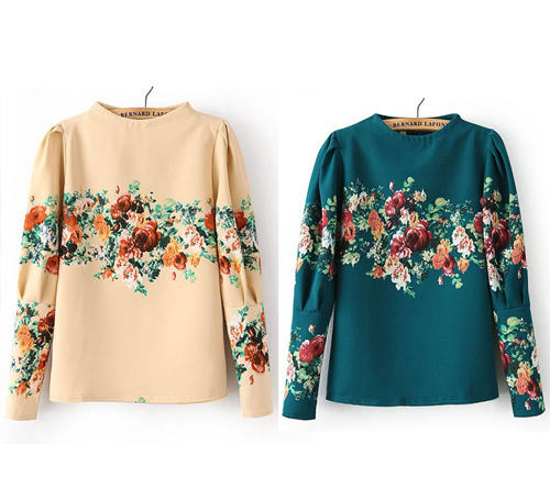 Free Shipping Women's Vintage Flower Printed Long Sleeve Shirts O neck Pullover Ladies' Tops Clothing-in Blouses & Shirts from Apparel & Accessories on Aliexpress.com