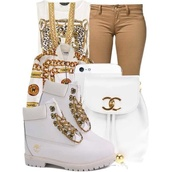 shoes,bag,shirt,urban,pants,jewels,jacket,chanel back pack,timberland,tank top