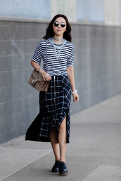 fit fab fun mom,blogger,bag,shoes,sunglasses,jewels,maxi skirt,slit skirt,zipped skirt,striped top,stripes,statement necklace,shoulder bag,brown bag,double slit skirt,checkered,necklace,dionysus,gucci,gucci bag,silver necklace,jewelry,sunnies,glasses,silver choker