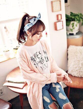 sweater long rose white fluffy cute korean fashion korean style kpop japanese sweet pullover nice crochet crochet top ulzzang