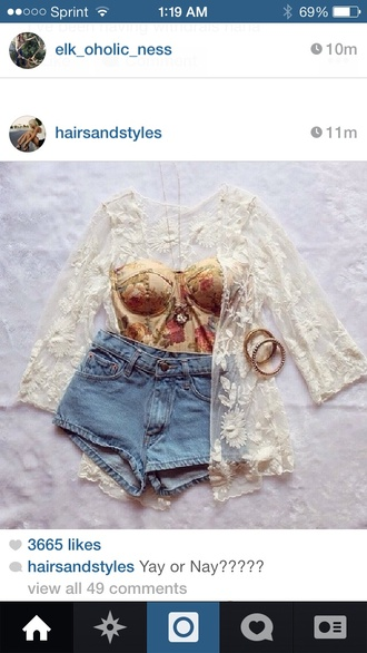 beige floral cardigan cream coral lace denim ban deuo crop too coverup bralette