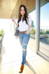 hautepinkpretty,blogger,shirt,jeans,bag,shoes,jewels,make-up