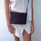 bag,white,black,skirt,celine,crossbody bag
