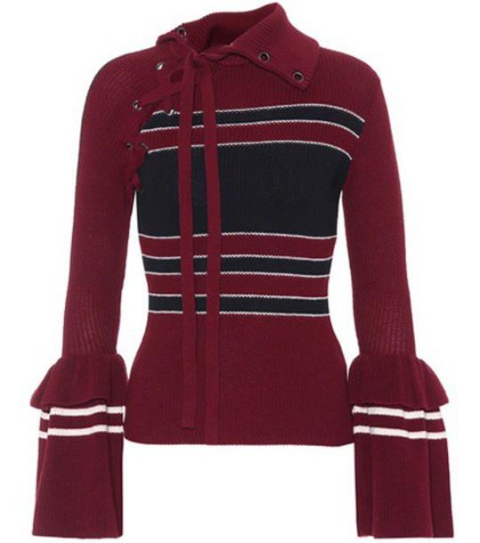 self-portrait sweater wool sweater cotton wool red