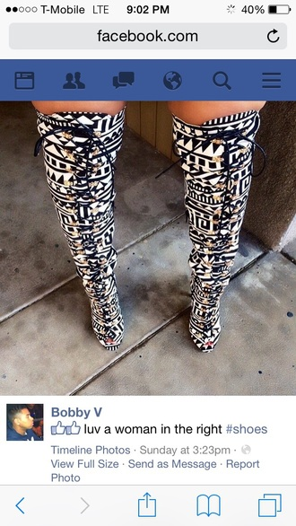 shoes black and white peek toe boots boots thigh high boots lace up tribal pattern winter boots winter swag