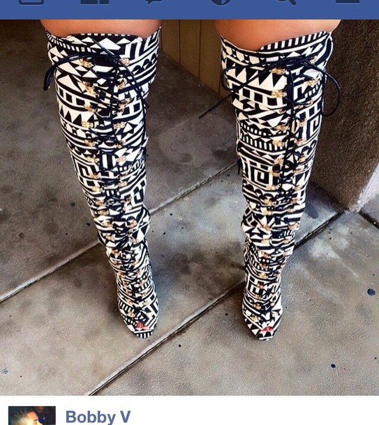 shoes black and white peek toe boots boots thigh high