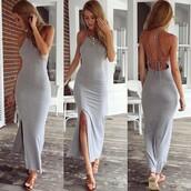 dress,maxi dress,open back dresses,low back dress,cage back,bodycon dress,grey,grey dress,grey maxi dress,strappy,strappy back dress,strappy back,summer dress,sammydress,style