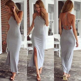 dress maxi dress open back dresses low back dress cage back bodycon dress grey grey dress grey maxi dress strappy strappy back dress strappy back summer dress sammydress style