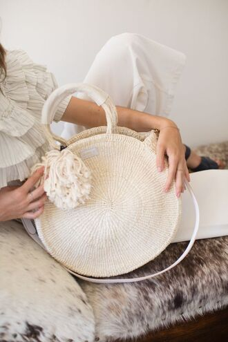 bag shoulder bag round bag knitted bag knitwear cream bag tassel spring accessory summer accessories cream sisal bag lovely handbag le fashion image blogger top pants shoes