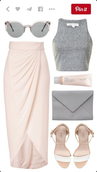 skirt midi skirt asymetrisch grey grey top crop tops dress outfit mirrored sunglasses sunglasses sandals style fashion