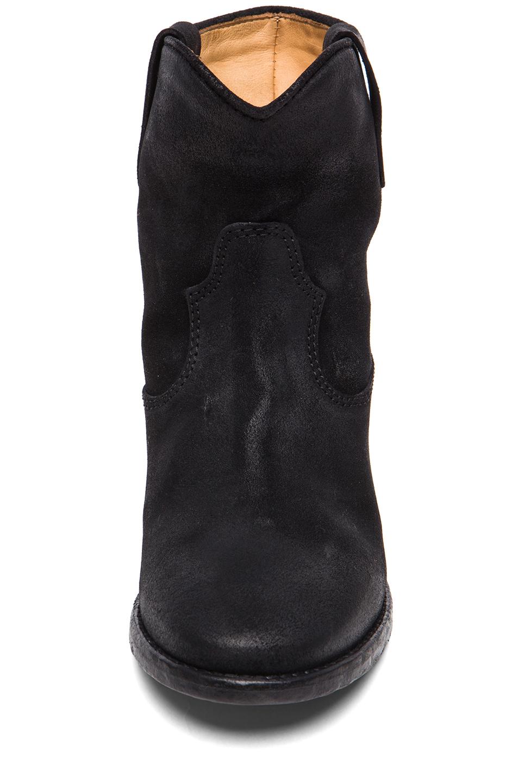 isabel marant crisi calfskin velvet boots in black. Black Bedroom Furniture Sets. Home Design Ideas