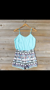 dress,romper,summer,funny,straps,spaghetti strap,light blue,stripes,shorts,aztec
