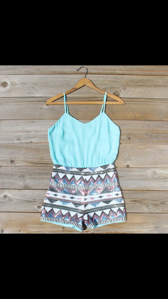 summer outfits shorts dress romper fun straps spaghetti strap pale blue stripes romper aztec