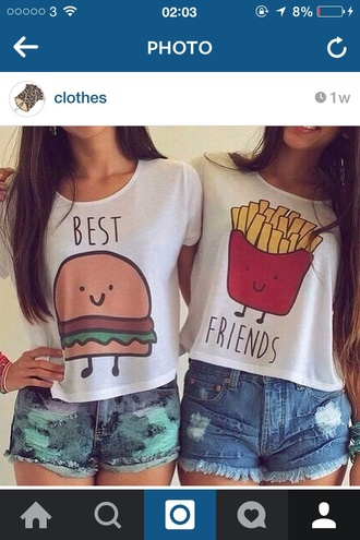 top bff fries hamburger cute