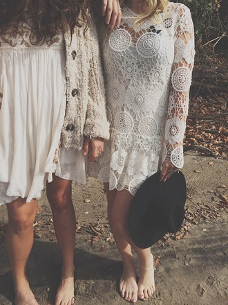 dress summer dress clothes white dress boho chic bohemian
