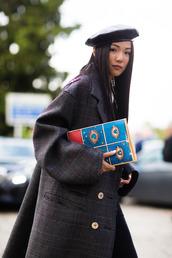 coat,fashion week street style,fashion week 2016,fashion week,milan fashion week 2016,brown coat,oversized,pouch,printed pouch,hat,black hat,beret,grey oversized coat,printed oversized coat