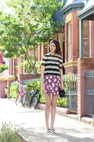 blogger skirt by chill stripes print flats