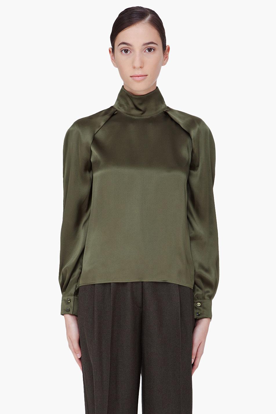 Hakaan olive silk cherry blouse