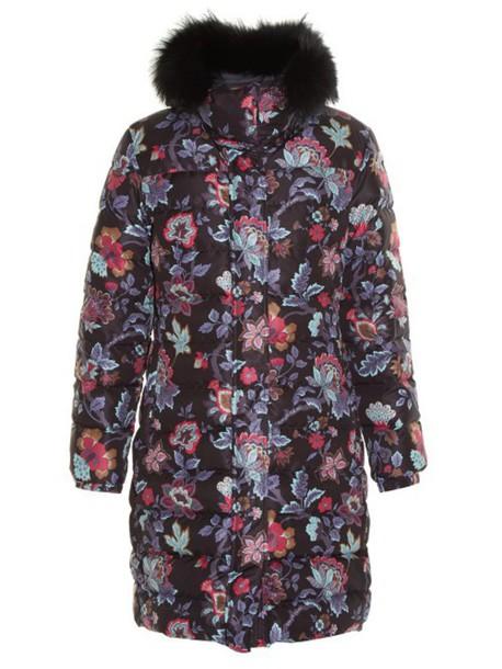 coat fur quilted floral print black